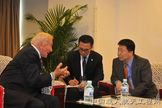 Buzz Aldrin (left) has previously met with China's first astronaut, Yang Liwei (right). Aldrin will be attending the Association of Space Explorers gathering in Beijing, China on September 9-15 and plans to discuss future space partnerships with China.