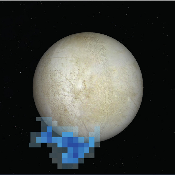 This NASA image shows the location of water plumes on Jupiter's icy moon Europa as seen by NASA's Hubble Space Telescope in December 2012. The discovery marked the first time strong evidence of water geysers on Europa.
