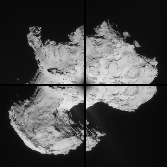 A four-image montage of Comet 67P/Churyumov-Gerasimenko taken by Rosetta on Sept. 2, 2014.