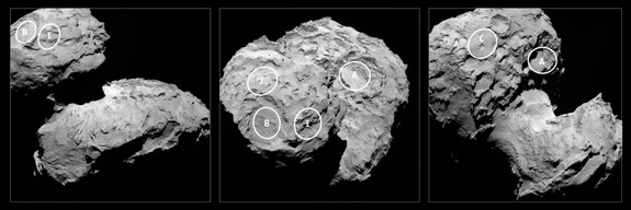 This European Space Agency image shows the five candidate landing sites on Comet  67P/Churyumov-Gerasimenko for the Philae lander aboard the Rosetta spacecraft. ESA scientists will unveil the target landing site on Sept. 15, 2014. Philae will make its historic landing on the comet on Nov. 11, if all goes well.