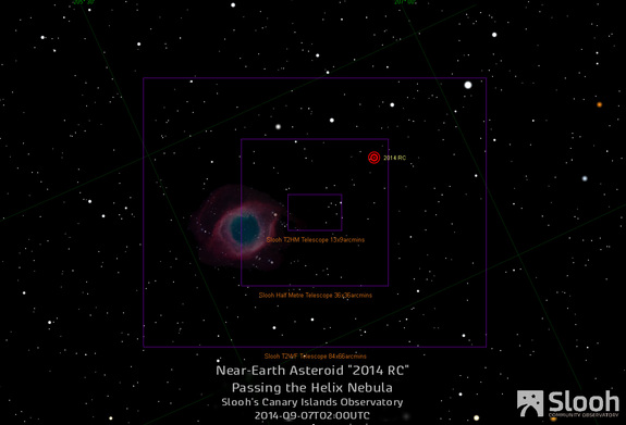 The online Slooh Community Observatory will track the near-Earth asteroid 2014 RC on Saturday, Sept. 6, one day ahead of the asteroid's closest approach to Earth on Sept. 7, 2014. The Helix nebula will also be in the field of view during the webcast as seen in this Slooh graphic.