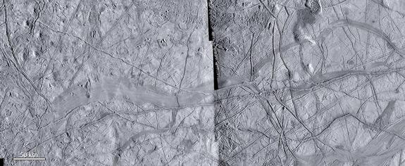 Close-up view of a possible zone of plate spreading on Europa, showing internal striations related to spreading and bilateral symmetry about a central axis. Older geological features can be matched perfectly to either side of the spreading zone. (This image focuses on a different region of Europa than the one analyzed for the Nature Geoscience paper published on Sept. 7, 2014.)