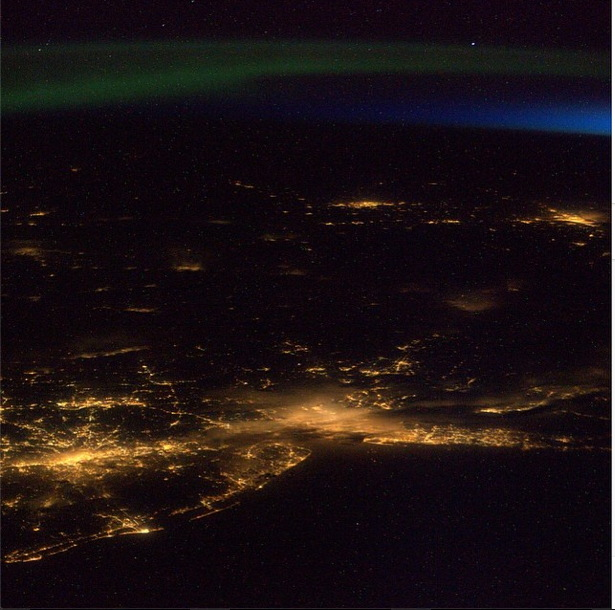 United States East Coast with Aurora Seen from the ISS