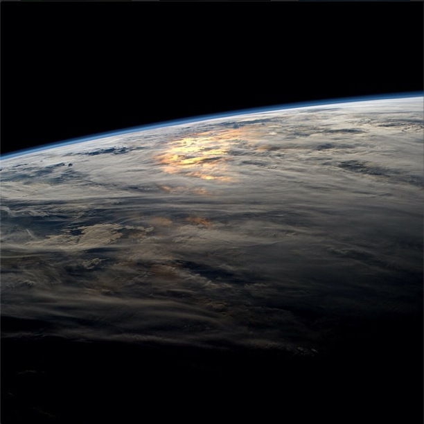 Sunset Clouds Over the Pacific Seen from the ISS
