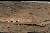 "NASA's Mars Curiosity rover views the ""Amargosa Valley,"" on the slopes leading up to Mount Sharp. Image released Sept. 11, 2014."