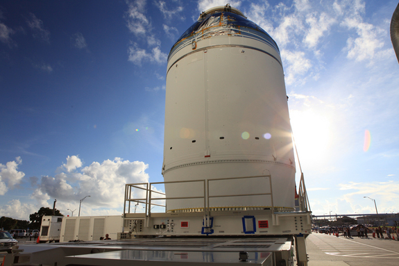 NASA's first Orion spacecraft and service module stack made a 20 minute trip from the Neil Armstrong Operations and Checkout Building at NASA's Kennedy Space Center in Florida on Sept. 11, 2014, to the Payload Hazardous Servicing Facility. The spacecraft will launch on its first test flight in December 2014.