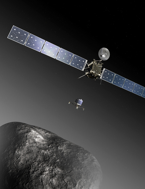 An artist's depiction of the European Space Agency's Rosetta mission as the Philae lander nears a historic landing on the Comet 67p/Churyumov-Gerasimenko  on Nov. 11, 2014.