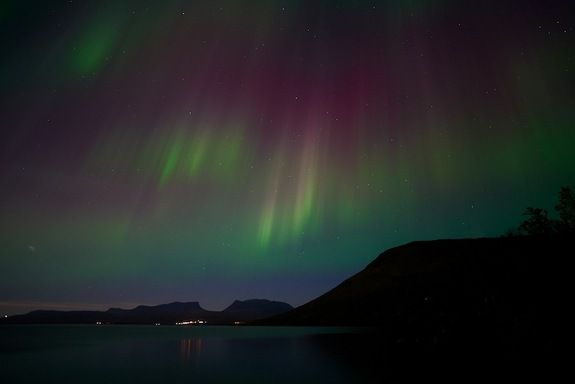 Guide Mat Richardson, who works with night sky photographer Chad Blakley, captured this photo of the northern lights over Sweden on Sept. 12, 2014 after two recent solar storms charged up the display.