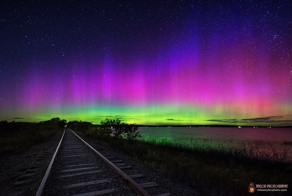 Night sky photographer Mike Taylor captured this spectacular view of auroras over Unity Pond in Waldo County, Maine on Sept. 12, 2014. The northern lights were amplified by intense solar storms earlier in the week.