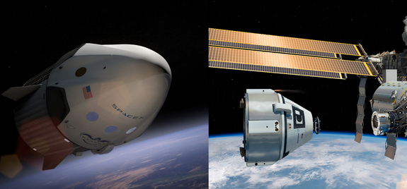 NASA has picked SpaceX's Dragon Version 2 manned spacecraft (left) and Boeing's CST-100 space capsule to fly American astronauts to and from low-Earth orbit from U.S. soil for the first time since the shuttle fleet's retirement in 2011. NASA announced the decision on Sept. 16, 2014 in a press conference at the Kennedy Space Center in Florida.
