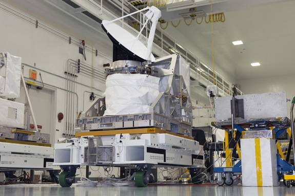 NASA's International Space Station-RapidScat instrument undergoes testing of its rotating radar antenna in the Space Station Processing Facility at NASA's Kennedy Space Center in Florida. The radar scatterometer represents the first scientific Earth-observing instrument to be operated from the exterior of the space station. Image released on June 18, 2014.