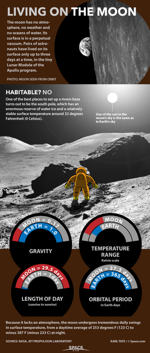 """Life on the moon would be very different for explorers than life on Earth.  <a href=""""http://www.space.com/27203-living-on-the-moon-explained-infographic.html"""">See what it living on the moon would be like in this Space.com infographic</a>."""