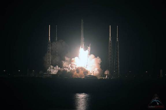 A SpaceX Falcon 9 rocket launches from the Cape Canaveral Air Force Station in Florida with a science-packed Dragon spacecraft on the fourth NASA-contracted resupply mission for the International Space Station, Sept. 21, 2014.