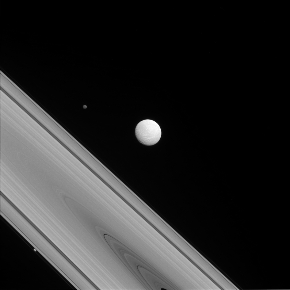 Cassini View of Rings and 3 Saturn Moons