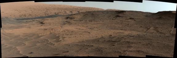 "This image taken by the Curiosity rover's Mast Camera shows the ""Pahrump Hills"" outcrop and surrounding terrain, as seen from a position about 70 feet (20 meters) northwest of the outcrop."