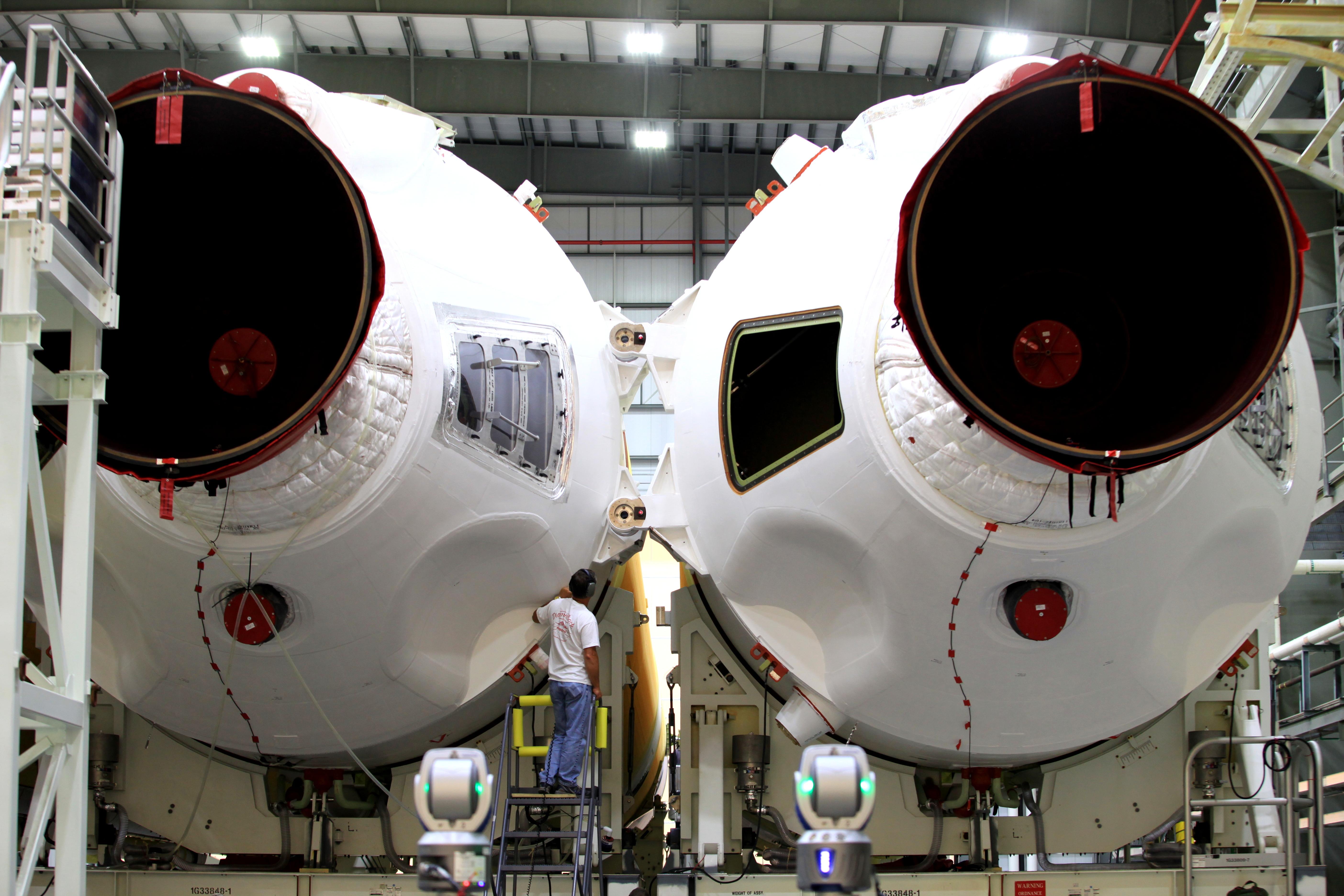 Delta 4 Heavy Rocket Coming Together for EFT-1