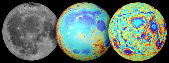 This series of images show the moon as seen in visible light (left), its topography (center; red is high terrain, blue is low), and NASA's GRAIL gravity measurements (right). The moon's Ocean of Storms is a broad region of low topography covered in dark mare basalt, with gravity measurements revealing a giant rectangular pattern of structures around the area.