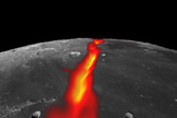 This image of the moon shows a view looking east across the northern edge of Mare Frigoris, on the nearside of the moon, showing how the northern border structure may have looked while volcanically active.