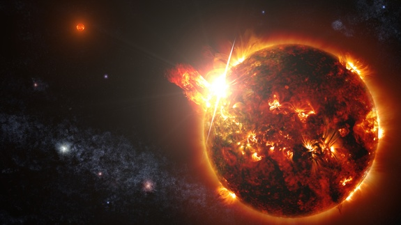 Artist's concept showing DG CVn — a binary system consisting of two red dwarf stars — unleashing a series of powerful flares seen by NASA's Swift spacecraft on April 23, 2014.