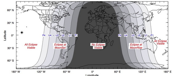 A visibility map of the total lunar eclipse rising on Oct. 8, 2014.