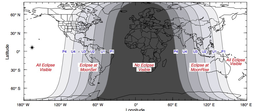 Oct. 8, 2014, Lunar Eclipse Visibility Map