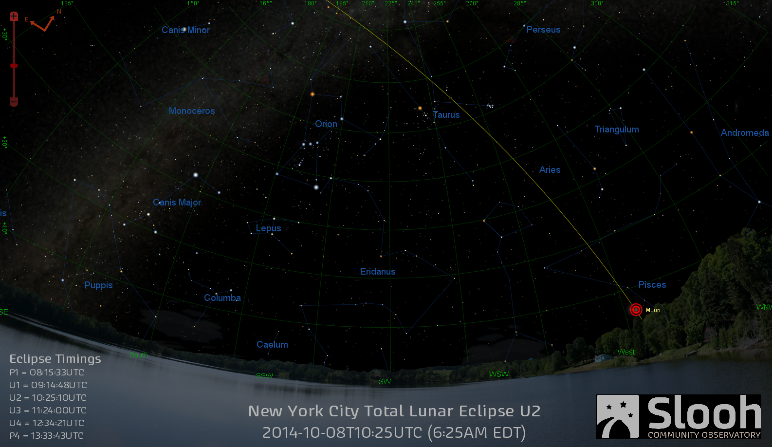 Oct. 8, 2014 Lunar Eclipse Sky Map for New York City