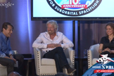 Sir Richard Branson (center) speaks with Anousheh Ansari (right) and Peter Diamandis on Oct. 4, 2014, the 10th anniversary of the Ansari X Prize.