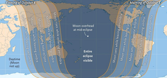 The total lunar eclipse of Oct. 8, 2014 will be visible from a wide area on Earth, as shown in this visibility map from released by Sky & Telescope Magazine.