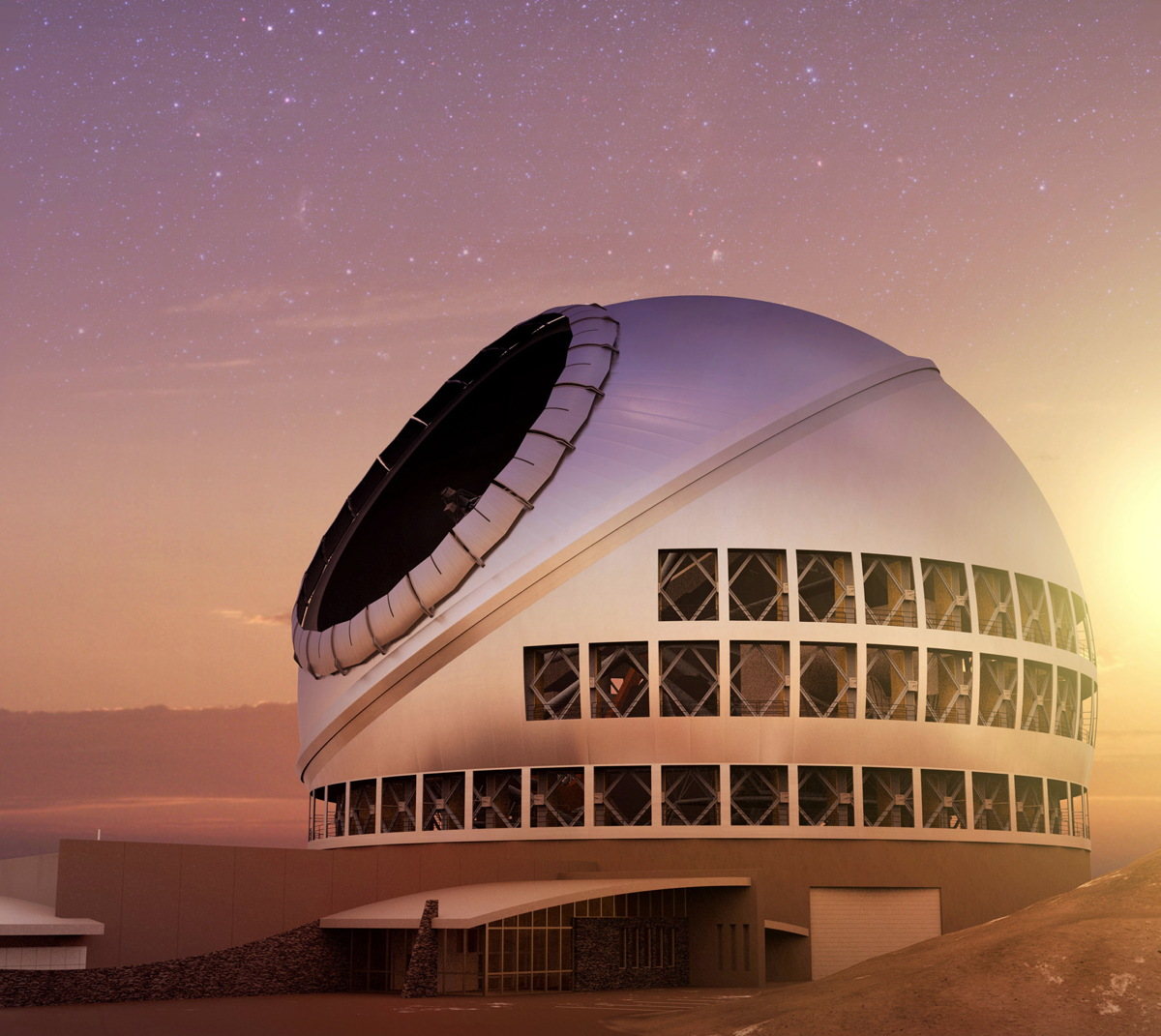 The Thirty Meter Telescope at Sunset