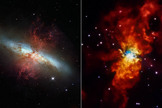 Galaxy Messier 82 (M82) appears in two different views. NASA's Hubble Space Telescope shows the galaxy in visible light (left) and NASA's Chandra X-ray Observatory shows an X-ray view (right).