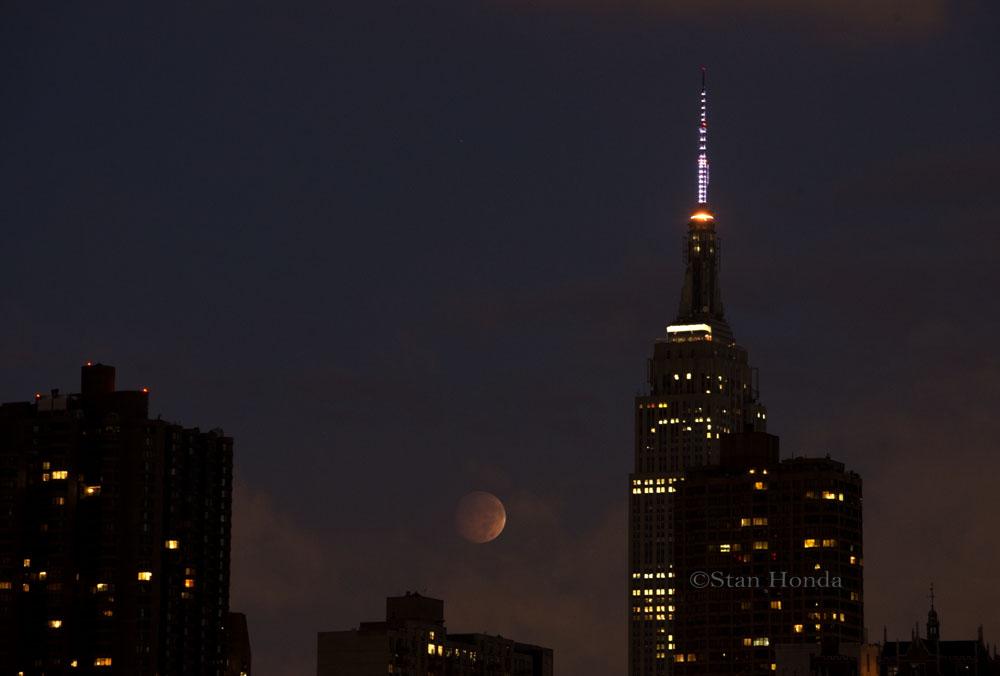 Lunar Eclipse and Manhattan Skyline