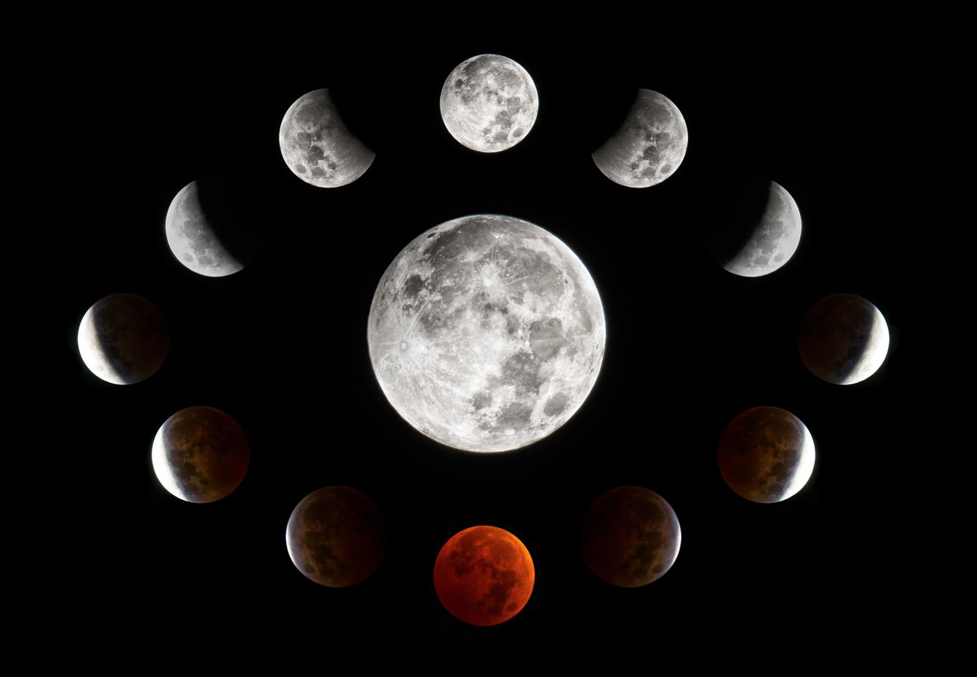 Lunar Eclipse Circular Collage