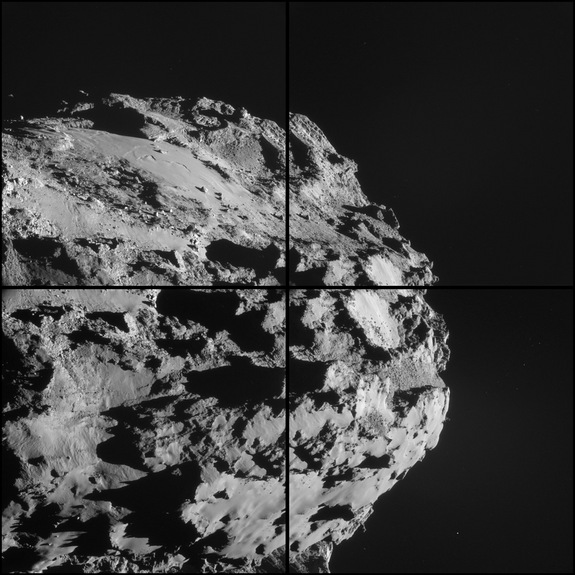 Mosaic showing a wide-angle view of comet 67P/Churyumov-Gerasimenko taken from 9.3 miles (15 km) above the surface Oct. 8, 2014.