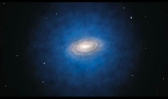 An artist's impression of the Milky Way galaxy. The dark matter halo, shown in blue, is not actually visible.