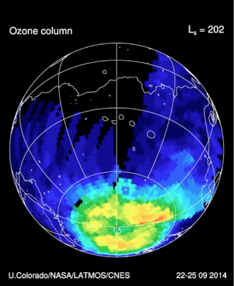 Ozone in the Southern Hemisphere of Mars