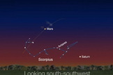 This image shows Comet Siding Spring's expected position near Mars in the south-southwest sky on Oct. 19, 2014.