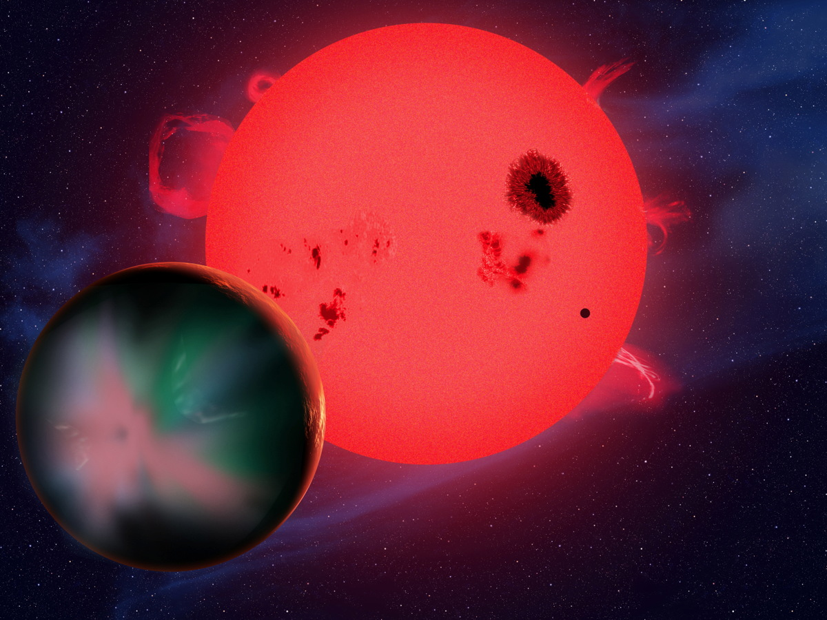 Artist's Concept of Red Dwarf Star with Alien Planet