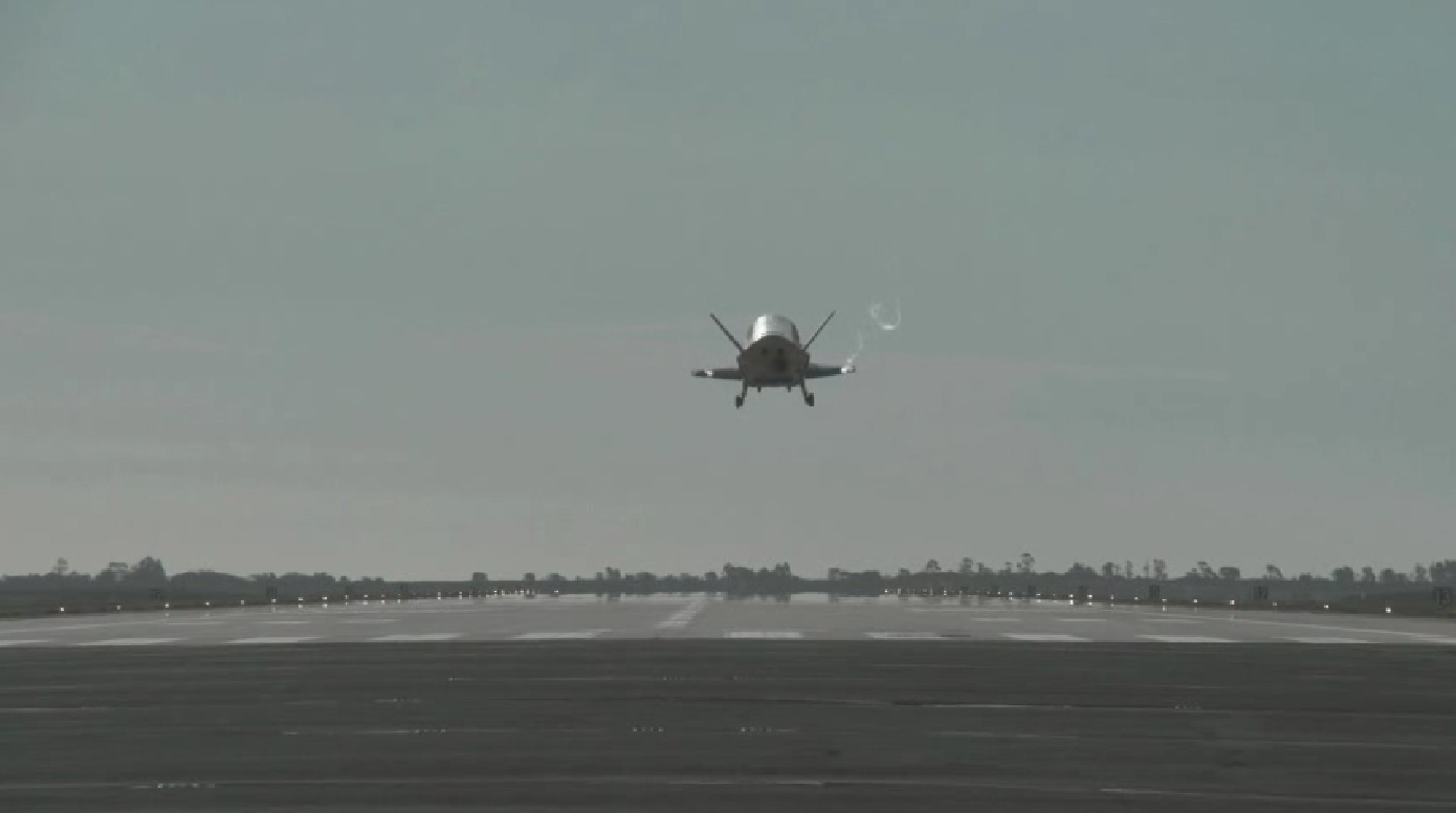 X-37B Space Plane Landing: Rear View