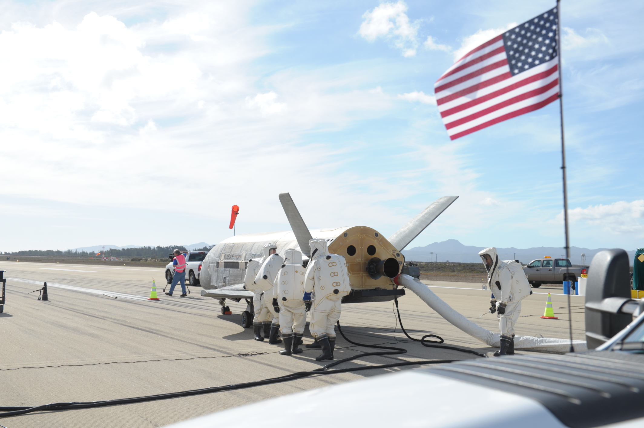 X-37B Space Plane Landing and Flag