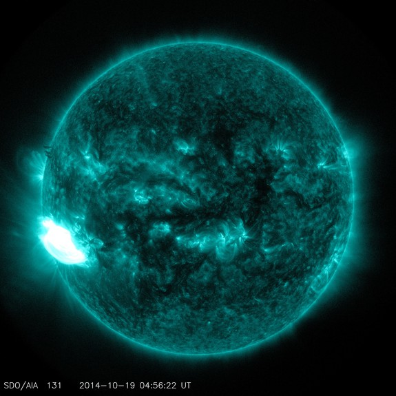 NASA's Solar Dynamics Observatory captured this ultraviolet-light image of an X1.1 flare erupting from the sun on Oct. 19, 2014.