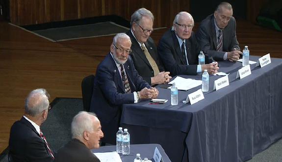 Buzz Aldrin, Karol Bobko, Vance Brand and Walter Cunningham sit on a panel at MIT.