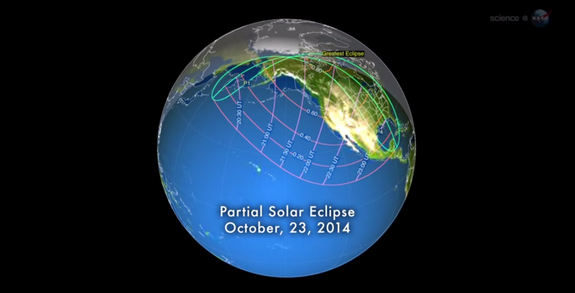 This NASA graphic shows the path of the partial solar eclipse of Oct. 23, 2014, as well as the region of visibility across North America and the Pacific Ocean.
