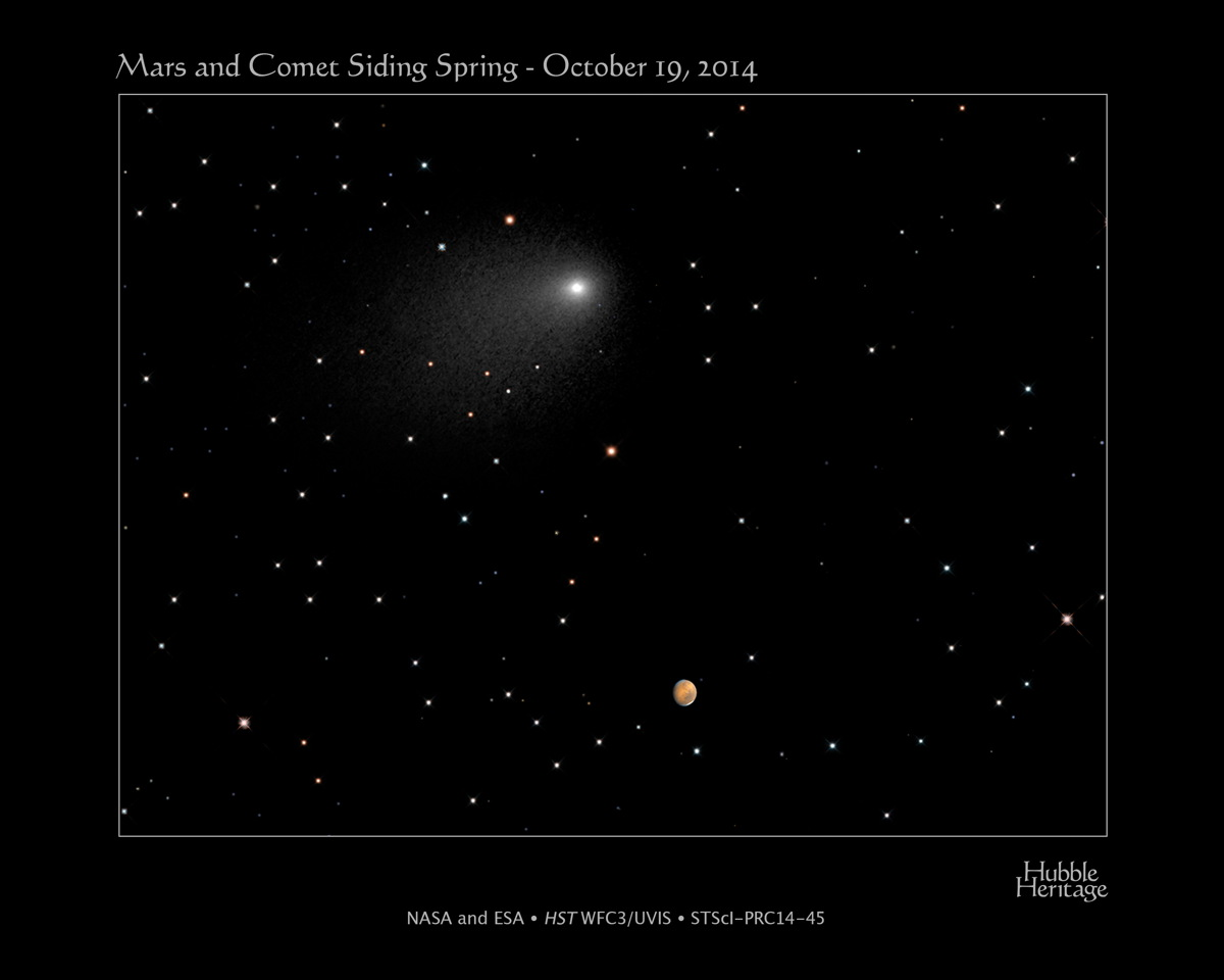 Hubble Sees Comet Siding Spring and Mars