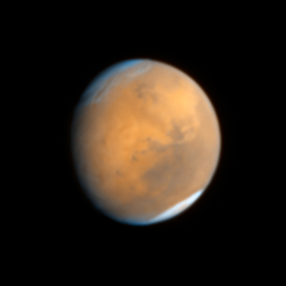 Hubble's Wide Field Camera 3 took this image of Mars at 10:37 p.m. EDT on Oct. 18, 2014.