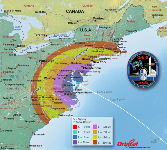 The timing for spotting the nighttime launch of Orbital Sciences' Antares rocket on Oct. 27, 2014 is shown here. All times are in seconds after liftoff, which is set for 6:45 p.m. EDT from Wallops Island, Virginia.