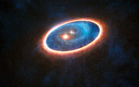 This is an artist's depiction of the dust and gas surrounding the double star system GG Tauri-A. Scientists think that planets might be forming in this double star system.