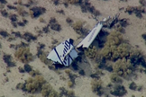 Debris from Virgin Galactic's SpaceShipTwo is seen on the Mojave Desert floor after a tragic crash during a test flight on Oct. 31, 2014. One pilot was killed and another injured during the crash.