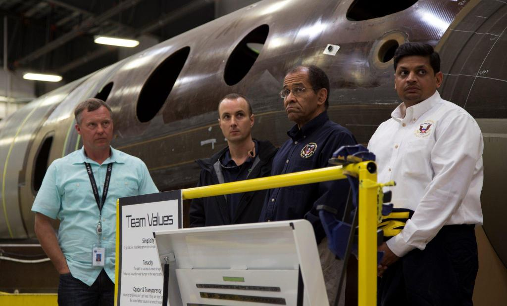NTSB Acting Chairman Christopher Hart visits The Spaceship Company production facility where Virgin Galactic's SpaceShipTwo vehicles are built as part of the NTSB investigation into the Oct. 31 crash of the space plane.