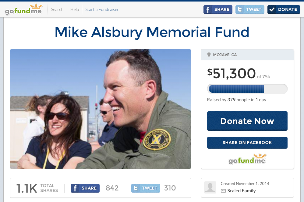 Memorial Fund for SpaceShipTwo Pilot Michael Alsbury Raises Over $55,000
