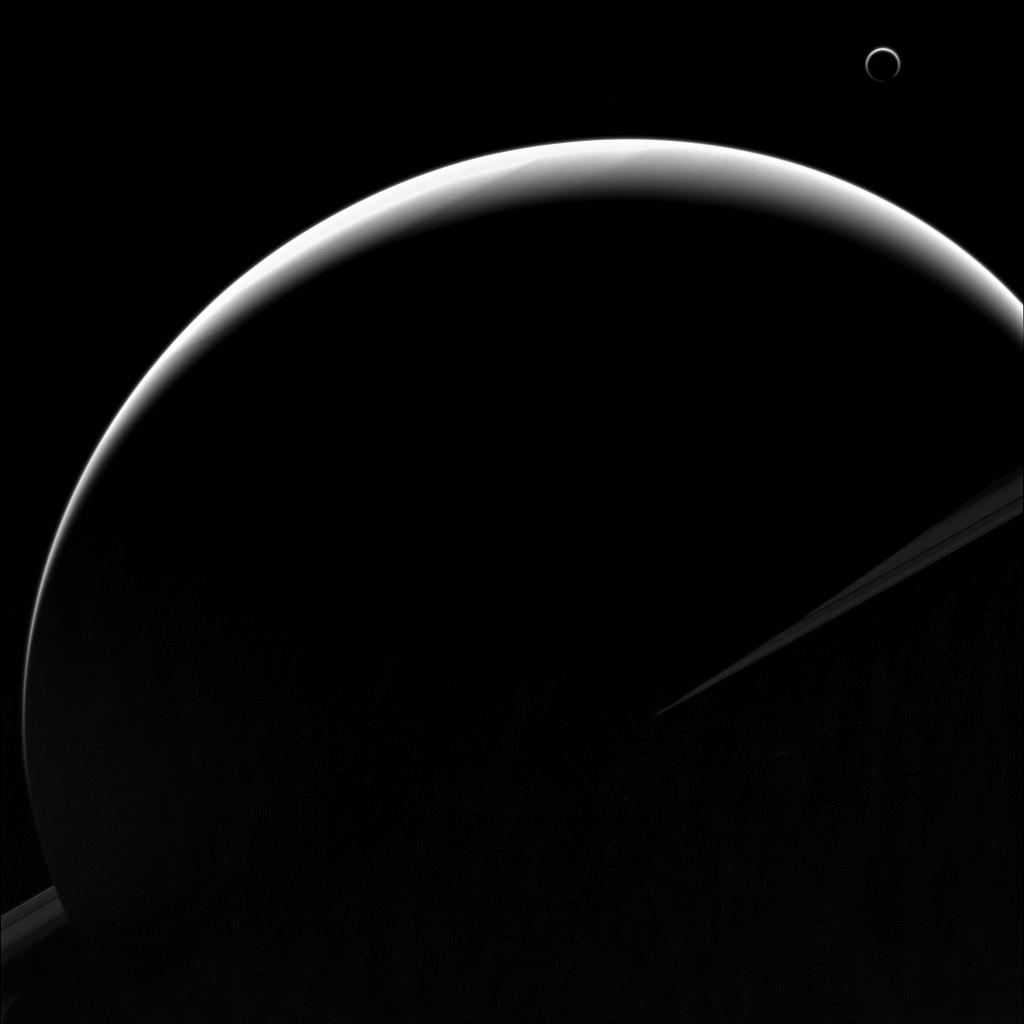 Amazing NASA Photo of a Crescent Saturn and Titan Is a Must-See